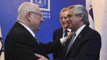 El presidente Alberto Fernándezsaluda a su par de Israel, Reuvlen Rivlin.