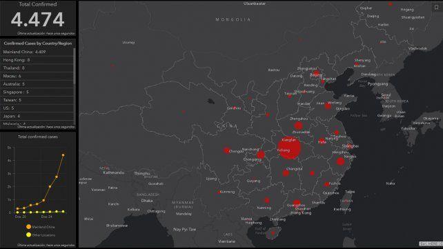 Un mapa interactivo muestra el avance del coronavirus en tiempo real