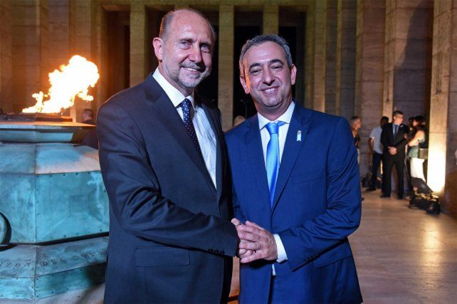 El gobernador Omar Perotti y el intendente de Rosario Pablo Javkin.