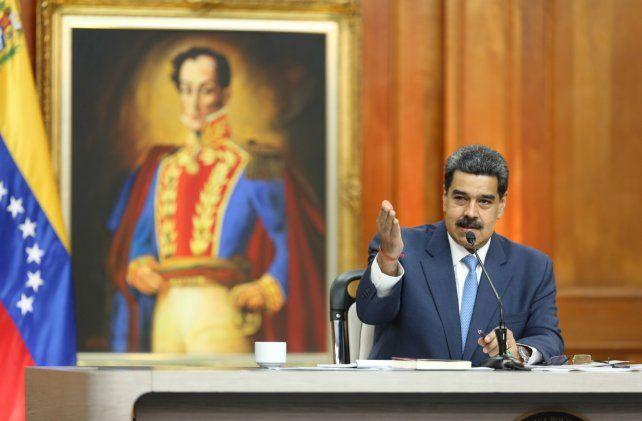 Conferencia. El presidente chavista durante su exposición de ayer delante de la prensa.