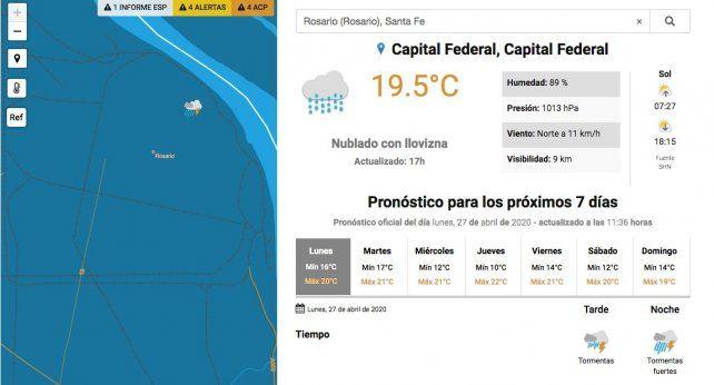 Tormentas en Rosario y alrededores