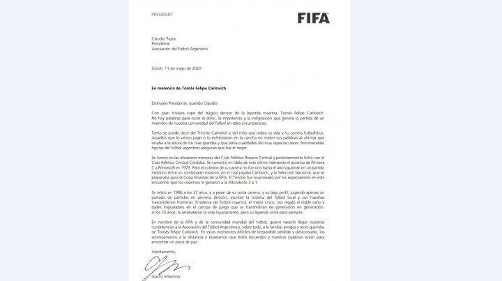 El comunicado de la Fifa por la partida de Tomás Felipe Carlovich.