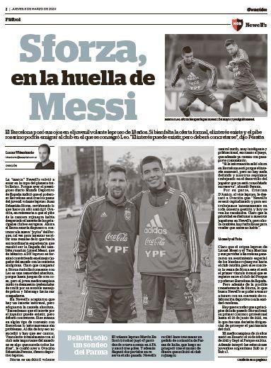 Sforza con Messi en un entrenamiento de la selección argentina.