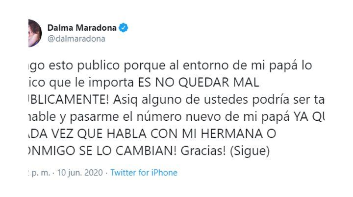 Rocío Oliva respondió a los picantes tuits de Dalma Maradona, pero después borró el mensaje