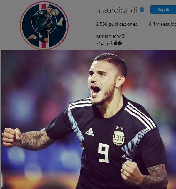 Mauro Icardi colgó tres fotos, una con una bandera, y dos suyas con la camiseta argentina.