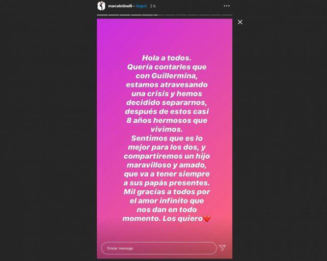 Tinelli anunció su separación de Guillermina Valdés