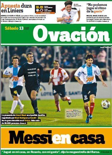 La tapa de Ovación del 13/6/2009, una de las dos visitas de Leo Messi a la cancha de Newell