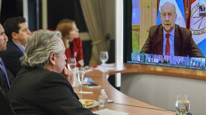 EL gobernador Omar Perotti durante la reunión virtual mantenida con el presidente Alberto Fernández.