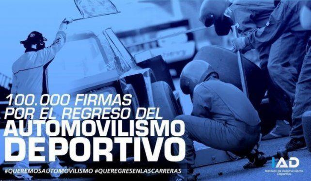 El Instituto Automovilismo Deportivo, ligado a los Canapino, lanzó una campaña para juntar firmas para el regreso del automovilismo.