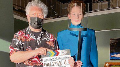 Dupla. El director Pedro Almodóvar y la actriz Tilda Swinton.
