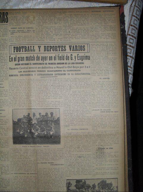 El diario Crónica de la época también reflejó el clásico jugado en Gimnasia y Esgrima.