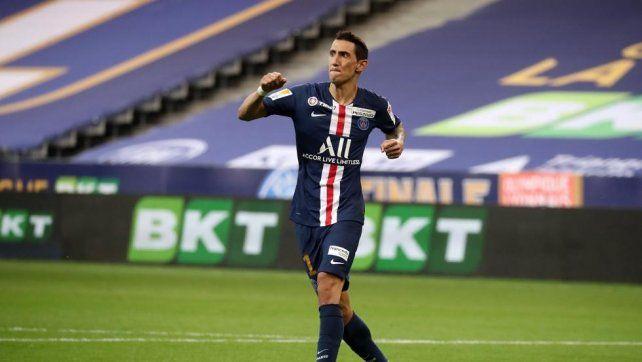 Fideo Di María anotó en la semifinal, ante Leipzig. En Central también lo gritaron.