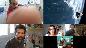 """Sarna, del trash al cine de la industria. Alejo Rébora (abajo,el primero a la izquierda), dirigió y actuó en """"Estrella fugaz"""", una miniserie de ciencia ficción con un guiño a la actualidad."""