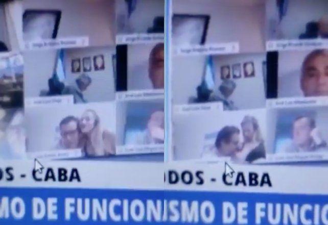 Juan Emilio Ameri, quien seguía la sesión a distancia desde su provincia (Salta), mantuvo una escena íntima con una mujer.
