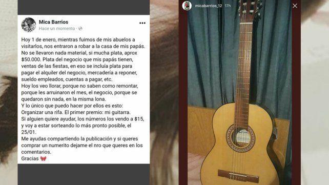 Rifa su guitarra para ayudar a la familia que sufrió un robo