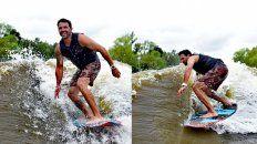 Renato, cuando se podía, practicando wakesurf.