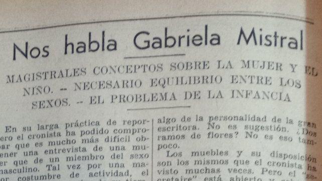 Encabezado de la entrevista que Gabriela Mistral le concedió al Diario La Capital y fue publicada el domingo 3 de abril de 1938.