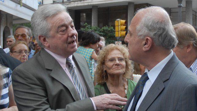 Lifschitz con el ex intendente Usandizaga el 23 de diciembre de 2008 en la reinauguración de la peatonal Córdoba.