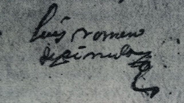 Firma del capitán Luis Romero de Pineda, quien recibiera en Merced Real las tierras del Pago de los Arroyos.