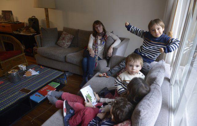 Con los nietos. Los encuentros afectivos sirvieron para estrechar los lazos más cercanos