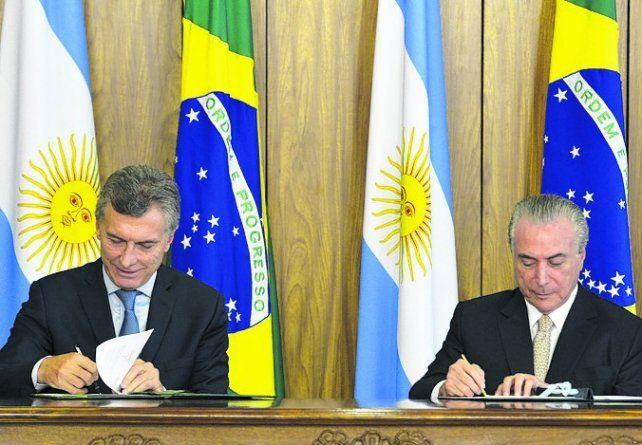 Alianzas. Macri y Temer acordaron fortalecer el comercio bilateral.