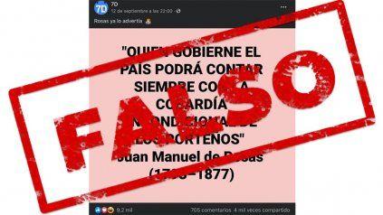 Una declaración atribuida a Juan Manuel de Rosas, que circula en redes sociales, es falsa.