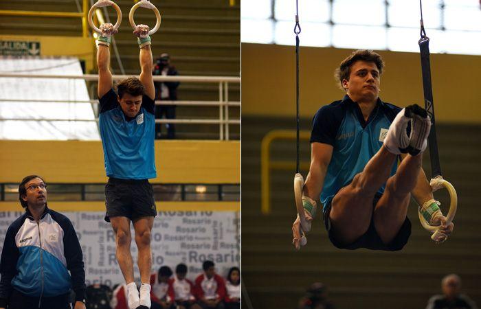 El gimnasta cumple la rutina que lo llevará al triunfo. (Foto: C.Mutti)