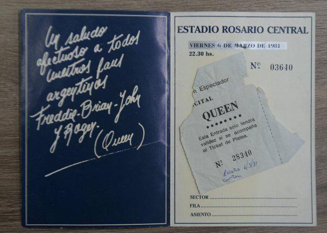 Aquella entrada. El programa y el ticket cortado del show en Central de 1981.