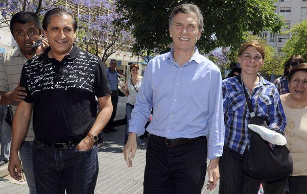 El jefe del PRO se mostró con el ex futbolista en la capital riojana.