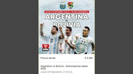 Argentina-Bolivia: entradas volaron en menos de 1/2 hora