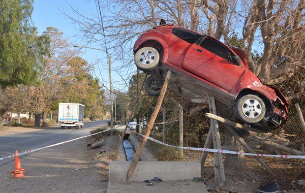 El auto quedó colgado de un árbol