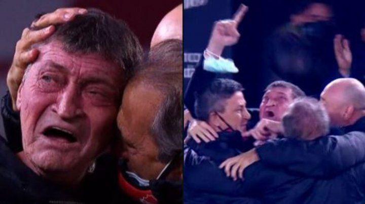 Falcioni fue tendencia en las redes por su llanto tras el triunfo del Rojo Independiente