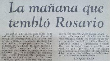 Fragmento de la tapa del Diario La Capital del 24 de noviembre de 1977.