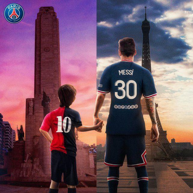 PSG posteó una imagen con Leo de niño