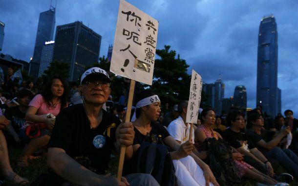 Desobediencia civil. Protesta antichina en el distrito financiero de Hong Kong.