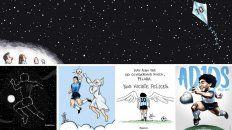 Algunos de los dibujos en homenaje al Diego.