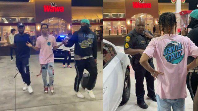 El tiktoker Jayy estaba bailando con sus amigos cuando un agente les secuestró el equipo de música.