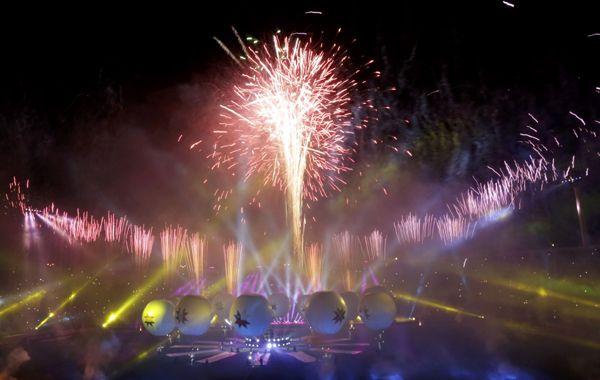 Los fuegos artificiales de la ceremonia de inauguración.