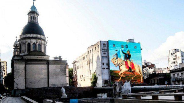El mural de Belgrano en el Pasaje Juramento. (Foto: Prensa Municipalidad)