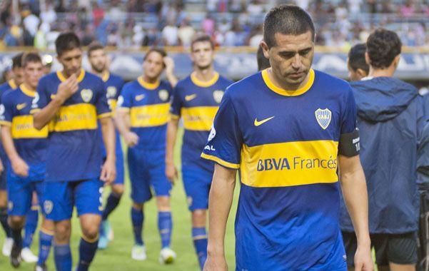 Se fue triste. El capitán Riquelme dejó la Bombonera con marcado rostro de preocupación tras haber perdido la chance de ganar.