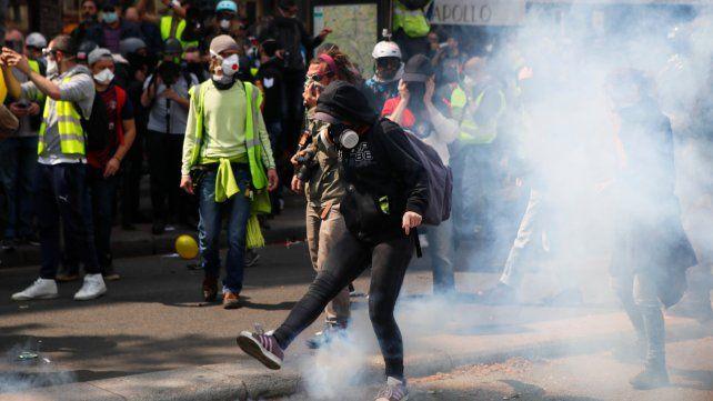 En lucha. Los manifestantes amarillos