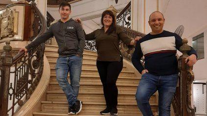 Leonardo, Adriana y Víctor en la ex Falabella donde trabajaron por años.