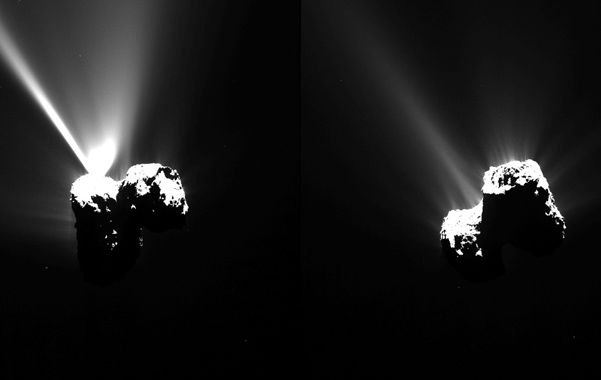 Increíble. Vistas del cometa 67P tomadas el miércoles por la sonda en su paso más cercano al Sol.