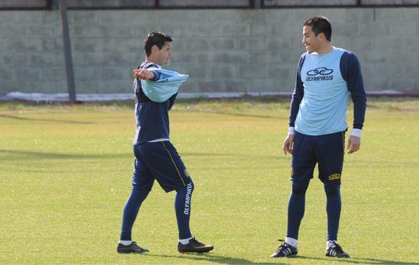 Yacuzzi y Casteglione hicieron fútbol ayer y hoy estuvieron en el táctico. (Foto: Sergio Toriggino)