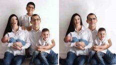 La foto de la familia antes y después del Photoshop.