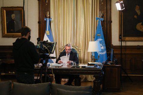 El presidente graba su mensaje que se transmitió en la asamblea anual de la ONU.