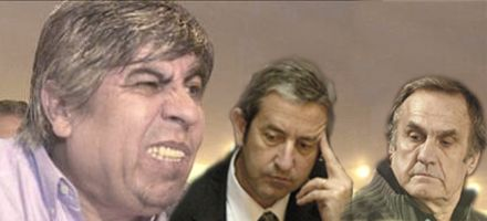 Moyano, con los tapones de punta contra los medios, Cobos y Reutemann