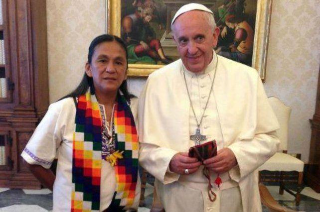 La dirigente de la Tupac Amaru en su visita al Vaticano