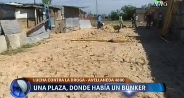 Construyen una plaza donde se demolió un búnker de drogas