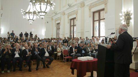 Auditorio. Lifschitz hizo la presentación junto a su gabinete y legisladores oficialistas y opositores.